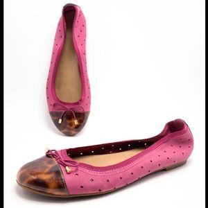Indigo by Clarks 10M Pink Nubuck Ballet Flats